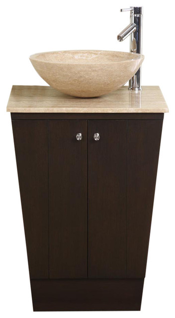 Beau 22 Inch Small Espresso Vessel Sink Bathroom Vanity, Travertine Top, Modern