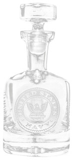 Navy Engraved Decanter, Whiskey, Scotch, Bourbon - Traditional - Decanters - by Crystal Imagery