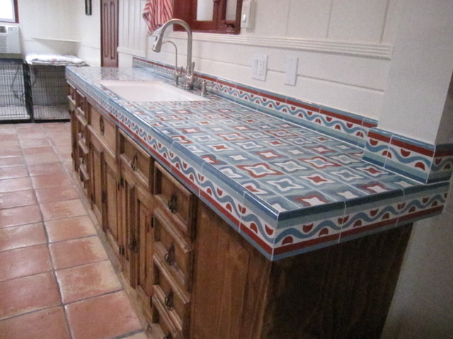 Rustic Kitchen Counter Mediterranean Orange County