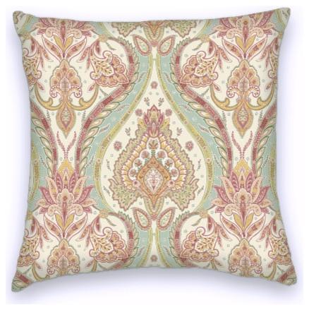Pink Green Cream Cotton Ikat Decorative Throw Pillow Cover - Mediterranean - Decorative Pillows ...