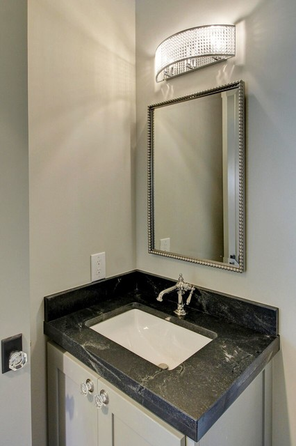 Powder room - large transitional gray tile and cement tile powder room idea in Other with shaker cabinets, gray cabinets, white walls, an undermount sink and marble countertops