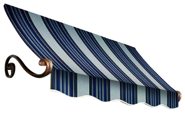 4&x27; Charleston Window Awning, 24 Hx36 D, Navy, Gray And White.