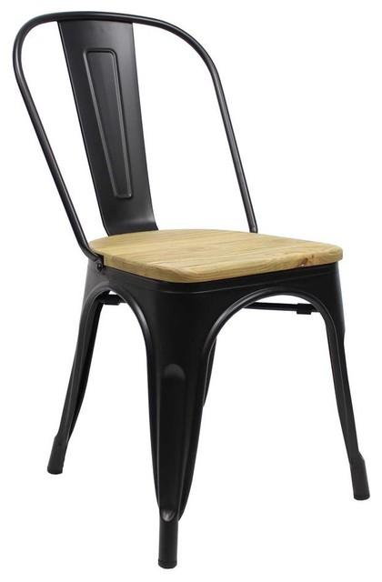 Cafe Bistro Chair, Black, Wooden Seat