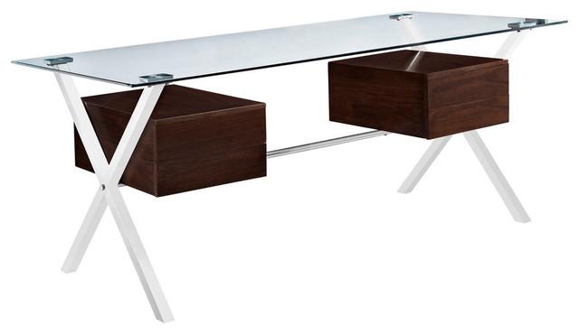 office desk walnut. Modern Contemporary Office Desk, Walnut Glass Modern-desks-and-hutches Desk