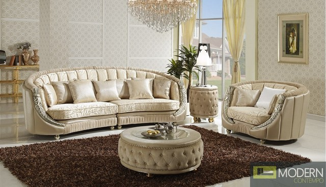 Volos three piece italian luxury sofa set for Luxury living room sofa