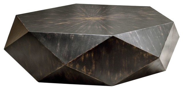 Volker Contemporary Worn Black Coffee Table