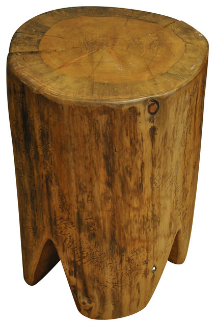 Hand Polished Square Tree Stump Stool Rustic Accent