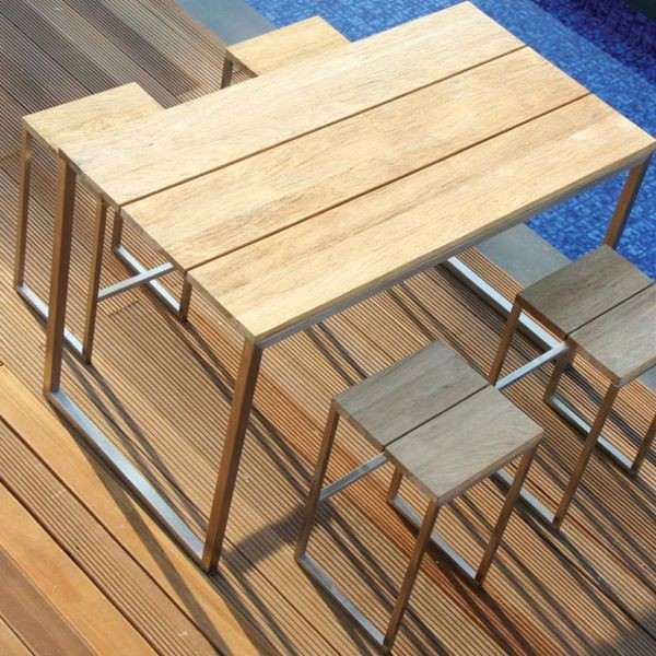 Outdoor Teak Bar Height Dining Table Outdoor Pub And Bistro Tables - Teak pub table and chairs