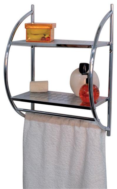 wall mounted metal 2 shelves bathroom storage with 2 towel racks holder