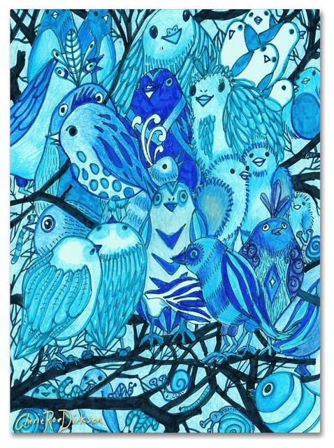 Cherie Roe Dirksen Blue Bird Montage Canvas Art