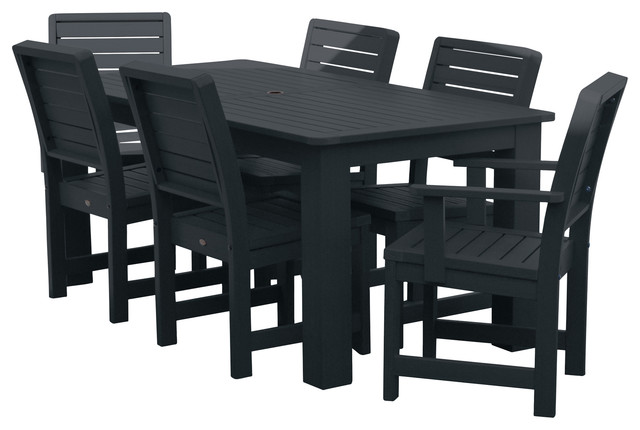 Beach Style Dining Sets: Weatherly 7-Piece Rectangular Dining Set,Weathered Acorn