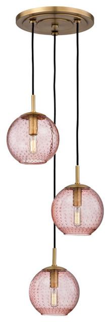 Rousseau 3-Light Globe Pendant Lighting, Aged Brass.