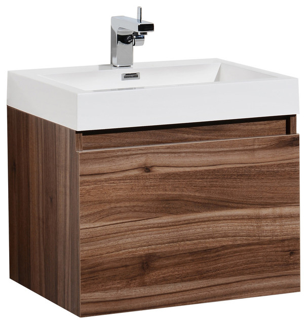 Aquamoon Venice 23 3 4 Infinity Sink Modern Bathroom Vanity Set Walnut