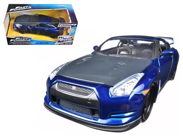 dark blue car 1.32 scale diecast model jada Fast and Furious 7 brians nissan GT-R R35