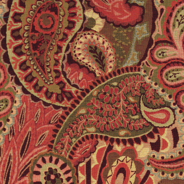 Burgundy, Green And Red, Paisley Contemporary Upholstery Fabric By