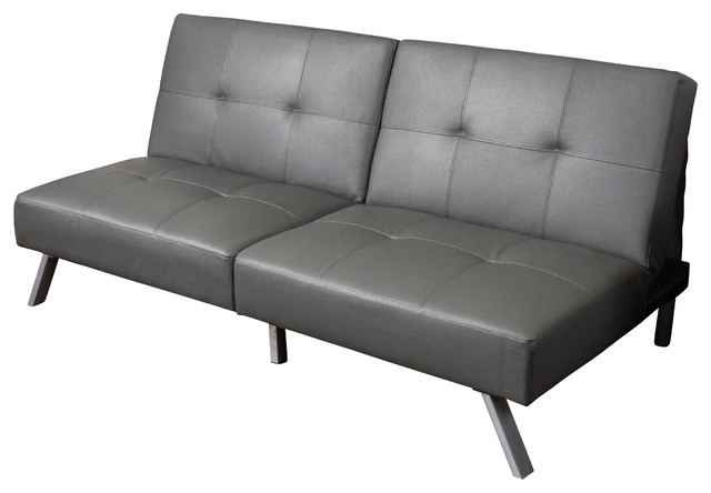 Heston Vinyl Click Clack Futon Sofa Bed Gray