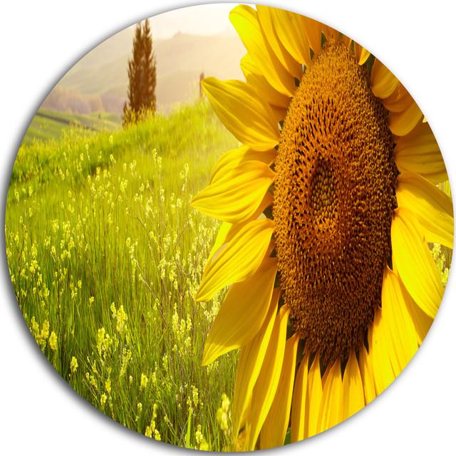 Design Art USA - Yellow Field with Big Sunflower, Landscape Art ...