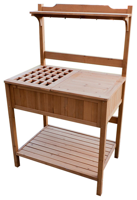 Potting Bench With Recessed Storage Transitional