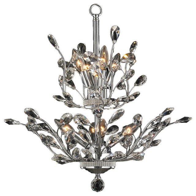 Euro Chandelier Lighting: Contemporary Euro Style 8-Light Chrome Finish Crystal