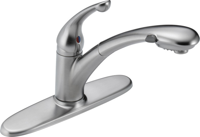 Delta Signature Single Handle Pull-Out Kitchen Faucet, Arctic Stainless.