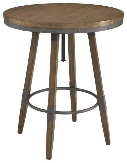 Hornell rustic adjustable height bar table industrial indoor pub hornell rustic adjustable height bar table watchthetrailerfo