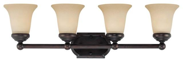 New 4 Light Bathroom Vanity Lighting Fixture Bronze: Four Light English Bronze Vanity Light Fixture