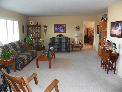 Please help! Kitschy cluttered Arizona living room needs overhaul!