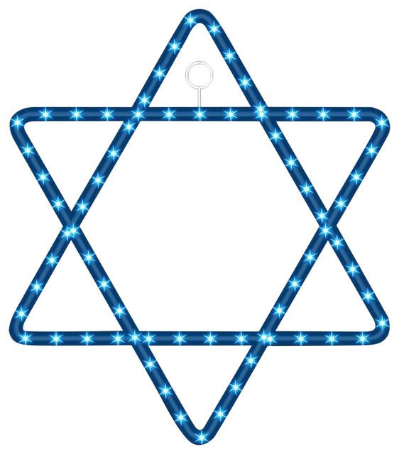 3&x27; 100 Blue-White Rope Led Lights/star Of David Hannukah Hanging Decor.