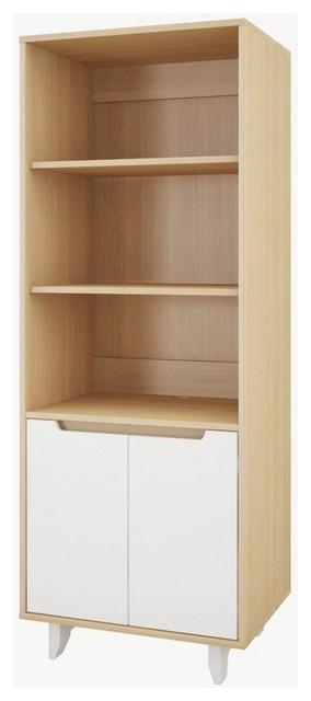 Nexera 107142 Alibi Bookcase/audio Cabinet, White/natural Maple.