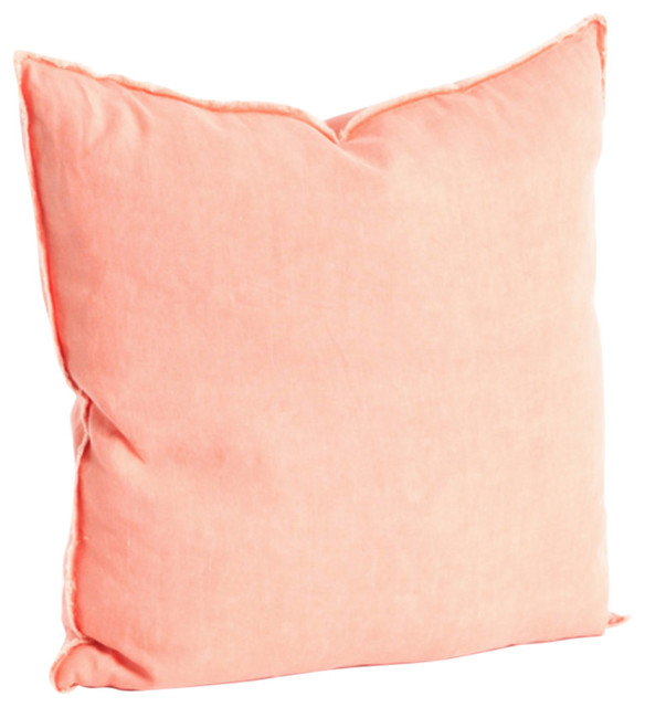 """Fringed Design Down FIlled Linen 20"""" Throw Pillow, Coral contemporary-decorative-pillows"""