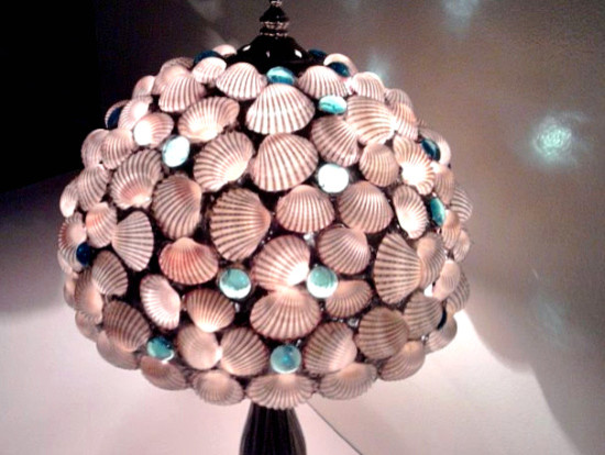 Seashells Table Lamp Stained Glass Aqua Blue Gems Shade