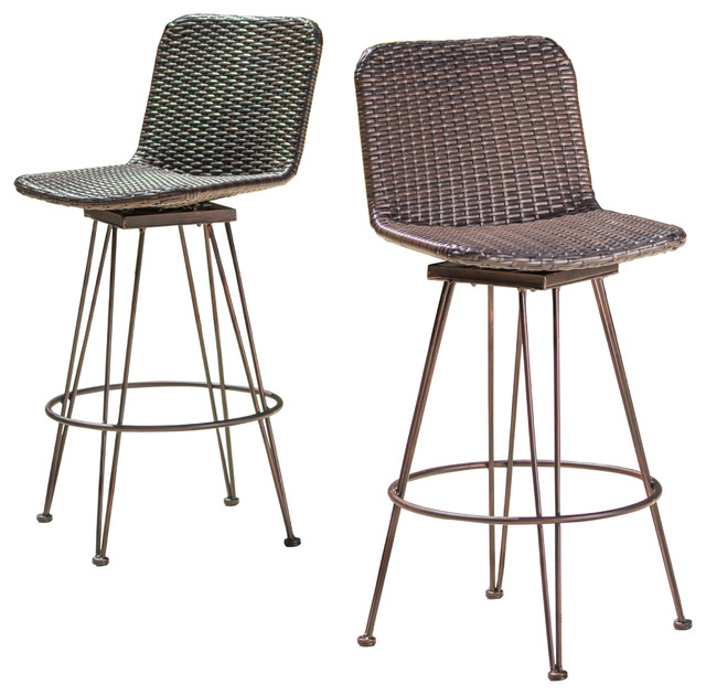 Pines Outdoor Wicker Barstools With Black Brush Copper Iron Frame Set Of 2
