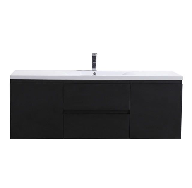 "Bathroom Cabinets Black Gloss moreno mob 60"" single sink high gloss white wall mounted bathroom"