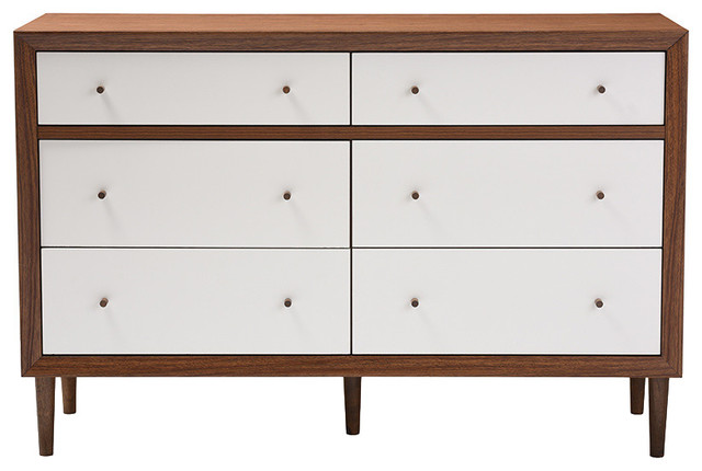 Harlow Wood 6-Drawer Storage Dresser, Walnut Brown And White.