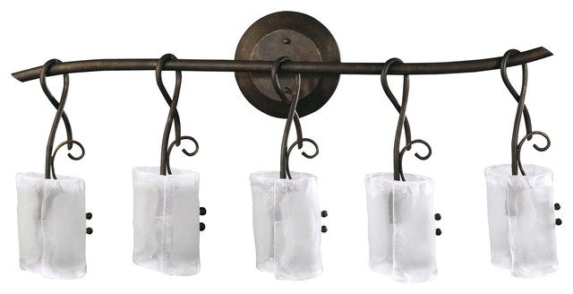 Somerset wrought iron organic sculpted 5 light vanity Rustic bathroom vanity light fixtures