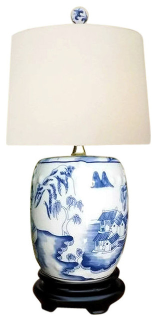 Chinese Blue And White Porcelain Mini Garden Stool Willow Table Lamp 17 5