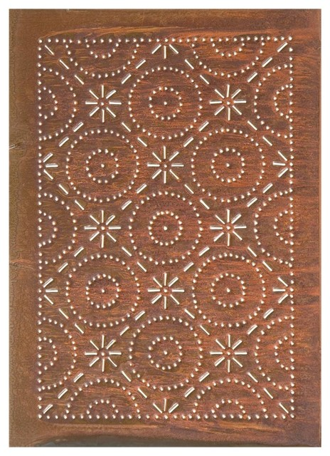 Charmant Four Handcrafted Punched Tin Cabinet Panels Old Mill Quilted Pattern,  Rustic Tin