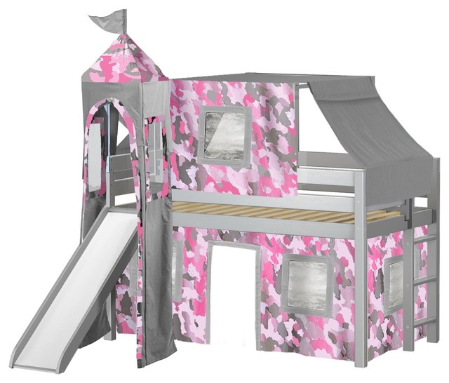 Jackpot Princess Low Loft Bed, Gray With Slide, Pink Camo Tent And Tower.