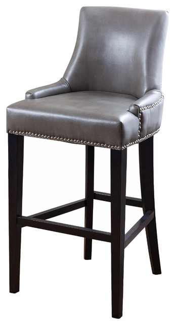 Newport Leather Nailhead Trim Bar Stool In Gray