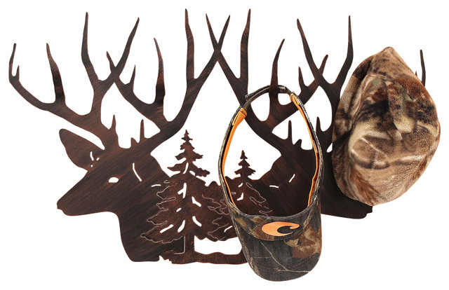 Iron Deer Head Scene Hat Rack.
