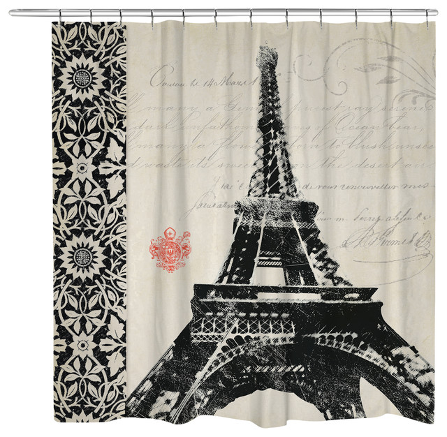 Eiffel Tower Border Shower Curtain   Traditional   Shower Curtains   By  Laural Home