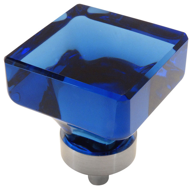 Superbe Cosmas 6377SN Satin Nickel And Glass Square Cabinet Knob, Blue Glass