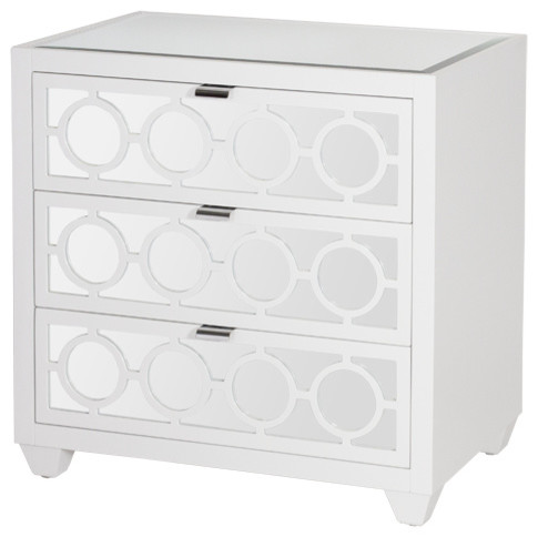 Worlds Away Ava Nightstand In Marshmallow Lacquer.