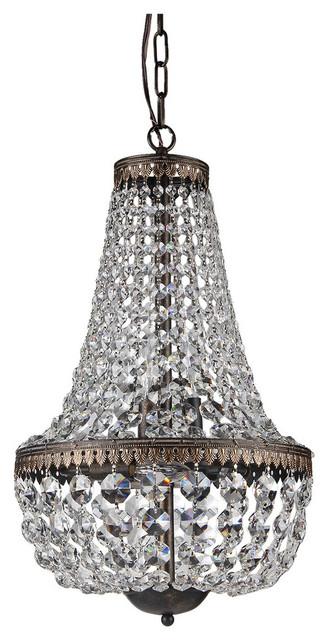 best loved 93623 8a344 6-Light Antique Bronze Empire Crystal Chandelier Glam Lighting