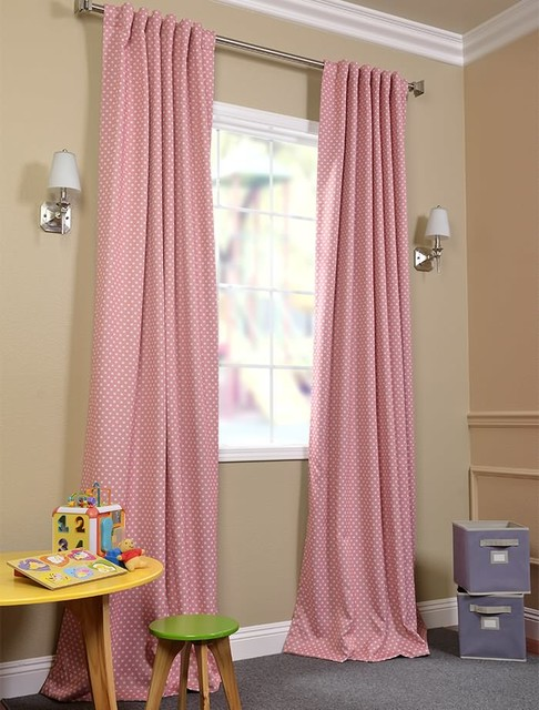 Peach Polka Dot Blackout Curtain View In Your Room