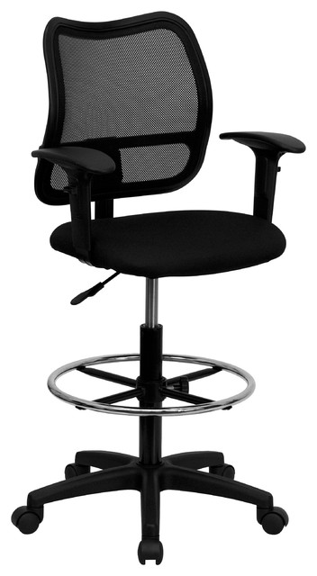 MFO Mid-Back Mesh Drafting Stool with Fabric Seat and Arms