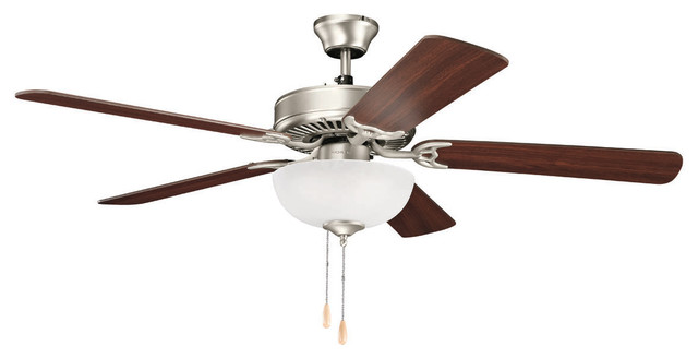 52 Ceiling Fan Brushed Nickel White Etched Glass.