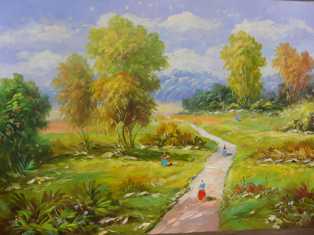 Oil Paint Canvas Art Countryside Scenery Wall Decor