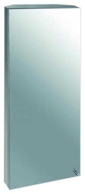 Ketcham Cabinets Space Saving Corner Cabinet Beveled Edge Mirror 14x30.