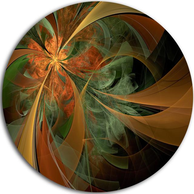 """Symmetrical Orange Digital Fractal Flower, Floral Disc Artwork, 38"""". -1"""